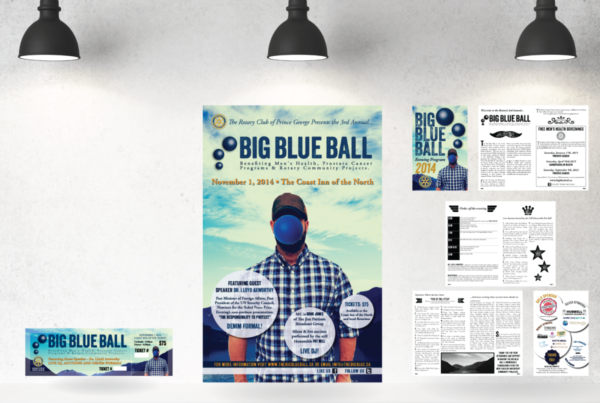 Big Blue Ball Poster, Ticket, and Program Design