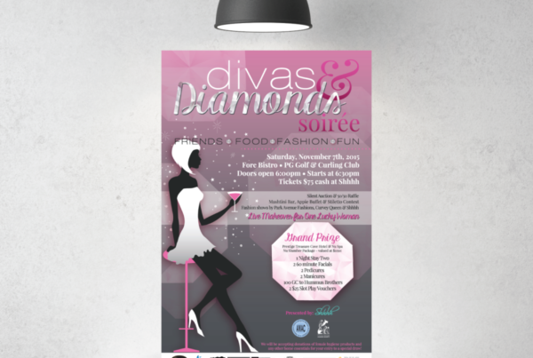 Divas and Diamonds Soiree Poster Design