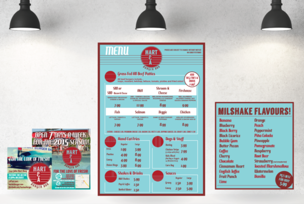 Hart A&A Burger Bar Menu and Poster Design