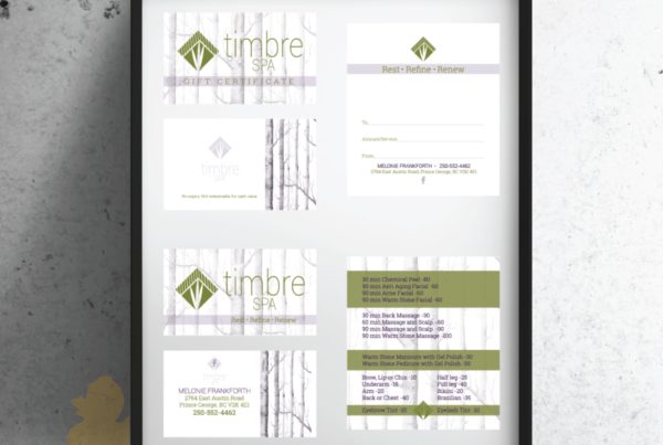 Timbre Spa Gift Certificate and Business Card